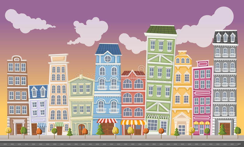 Download Groot Kleurrijk Stadslandschap Vector Illustratie - Illustratie bestaande uit downtown, handel: 54085542
