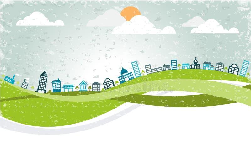 Download Groot Kleurrijk Stadslandschap Vector Illustratie - Illustratie bestaande uit downtown, stad: 54085543