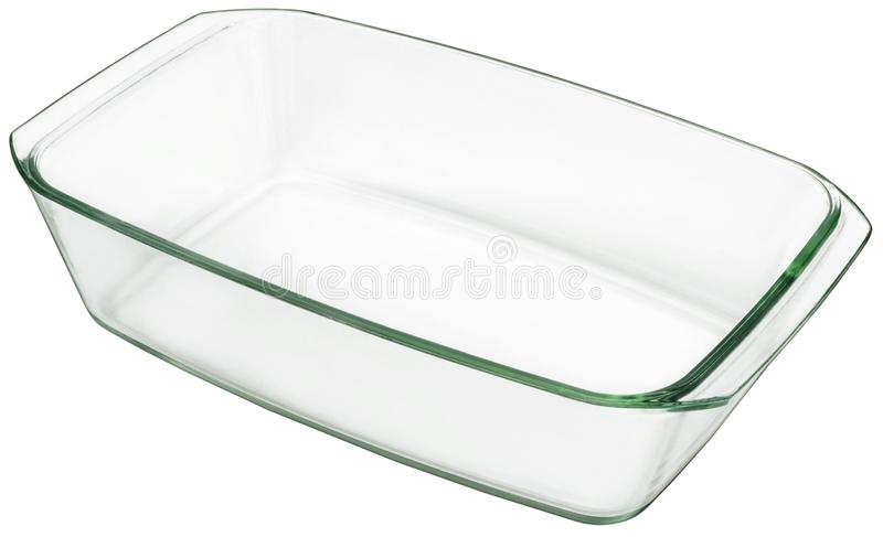 Groot Langwerpig Glasbaksel Pan Isolated On White Background stock fotografie