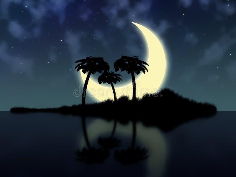 Groot maan en eiland royalty-vrije illustratie