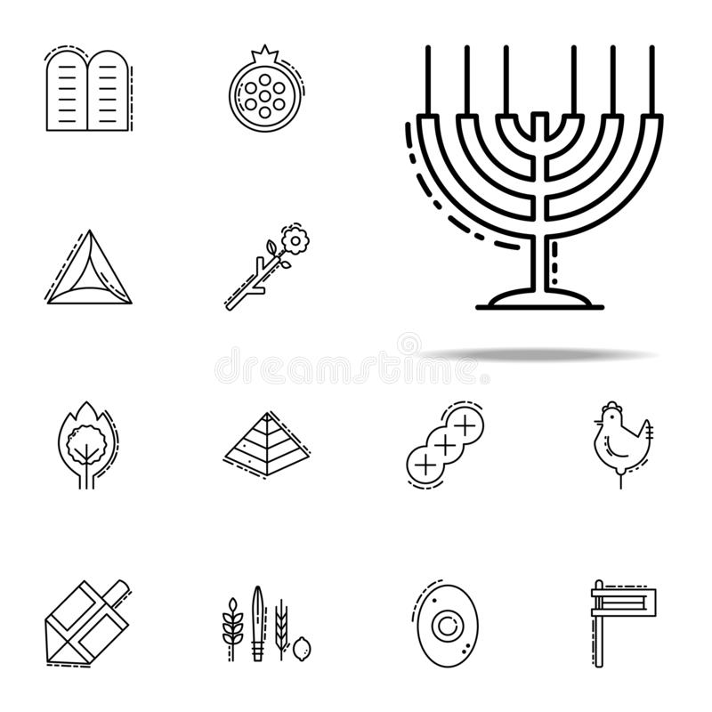 Groot Menorah-pictogram Voor Web wordt geplaatst dat en het mobiele algemene begrip van judaïsmepictogrammen royalty-vrije illustratie