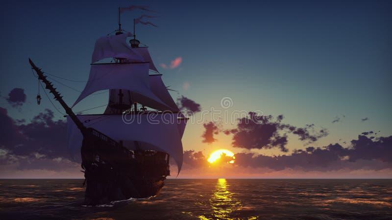 Groot middeleeuws schip op het overzees op een zonsondergang Het oude middeleeuwse schip vaart elegant in de open zee het 3d teru vector illustratie