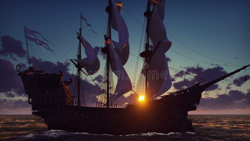 Groot middeleeuws schip op het overzees op een zonsopgang Het oude middeleeuwse schip vaart elegant in de open zee het 3d terugge stock illustratie