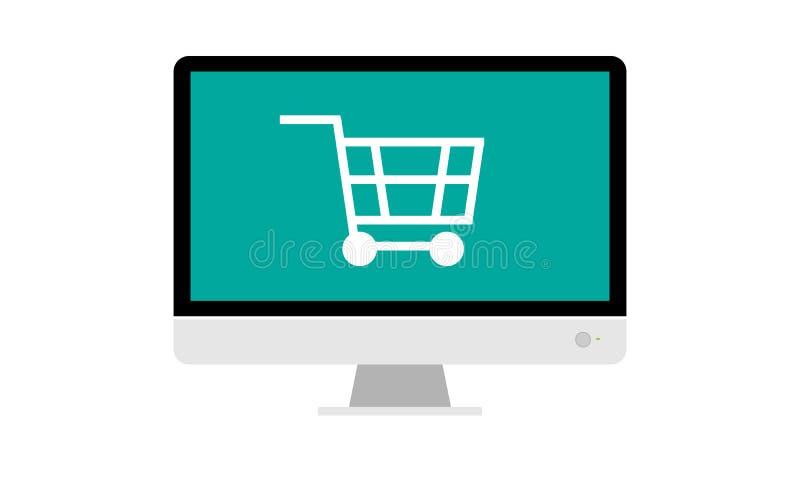Groot monitor en boodschappenwagentje voor online het winkelen concept Vlakke kleuren vectorillustratie royalty-vrije illustratie