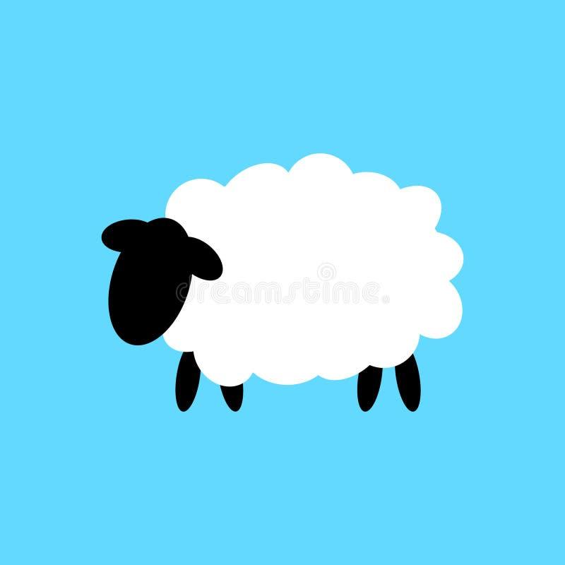 Groot ontwerp van een wit schaap met een zwart hoofd stock illustratie