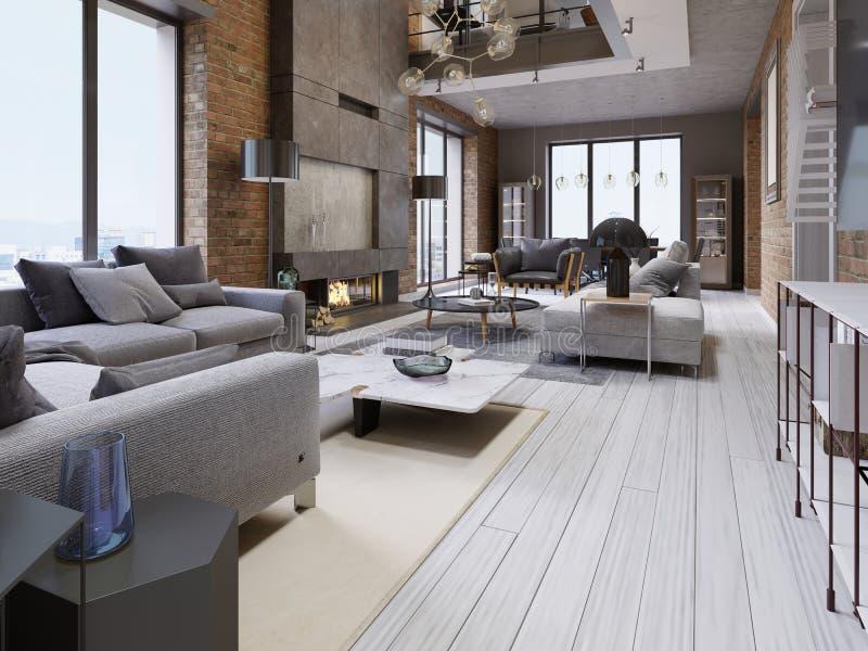 Groot ontwerp van flats in een zolderstijl met een bakstenen muur en beklede meubilair en grote panoramische vensters royalty-vrije illustratie