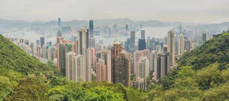 Groot panorama van Hong Kong-horizon Mening van de Piek van Victoria royalty-vrije stock fotografie