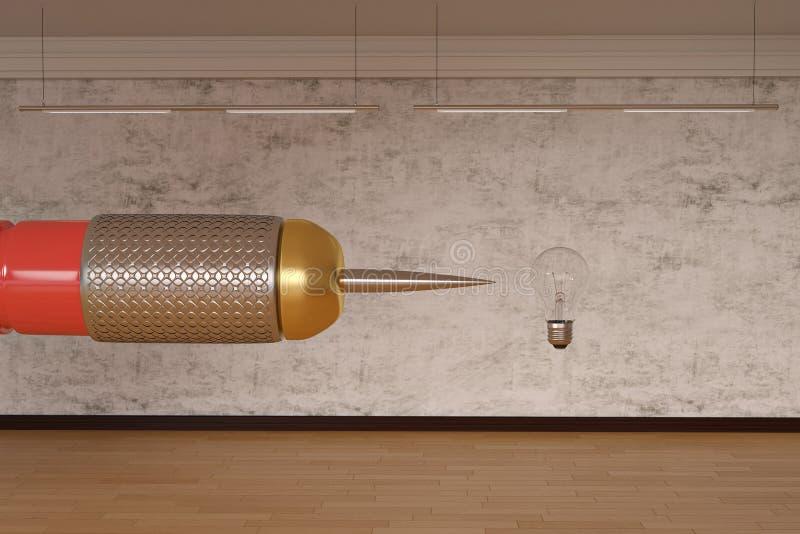 Groot pijltje en gloeilampen creatief concept 3D Illustratie vector illustratie