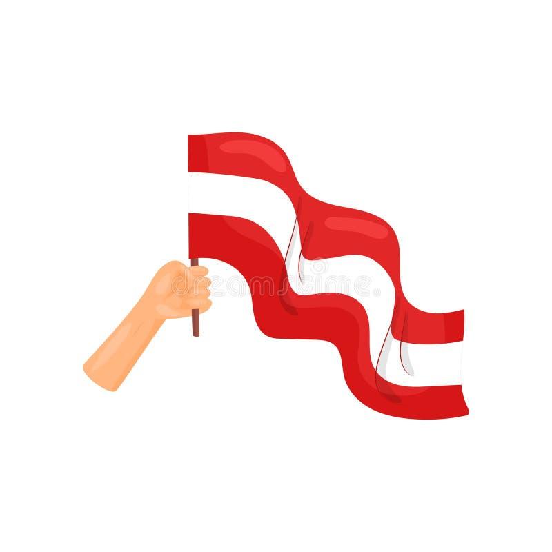 Groot rood en witte vlag ter beschikking Vector illustratie op witte achtergrond royalty-vrije illustratie