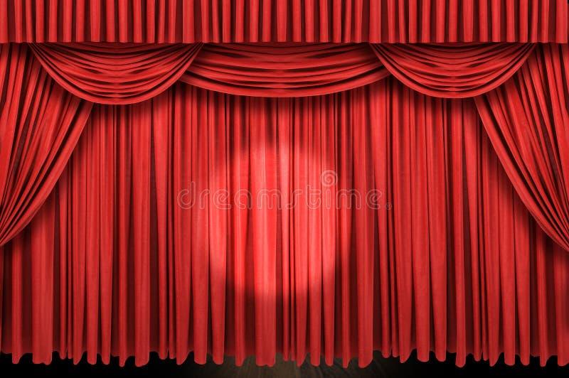 Groot rood gordijnstadium royalty-vrije stock afbeelding