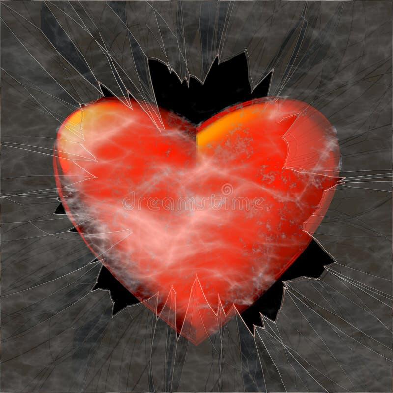 Groot rood hart achter verbrijzeld glas stock fotografie