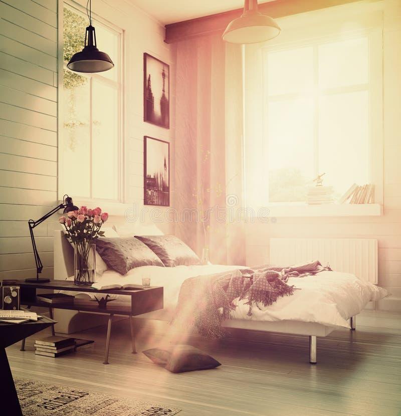 Groot ruim modern slaapkamerbinnenland stock illustratie