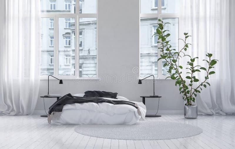 Groot ruim wit slaapkamerbinnenland vector illustratie