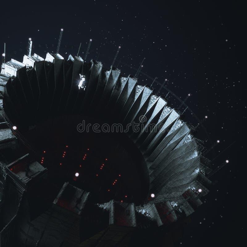 Groot ruimtestation het openen dok in donkere kosmische ruimte met klein cijfer van astronautenkosmonaut die binnen in nul drijve stock illustratie