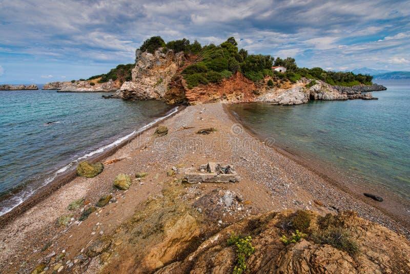 Groot strand op het Griekse Eiland Evvoia stock afbeeldingen