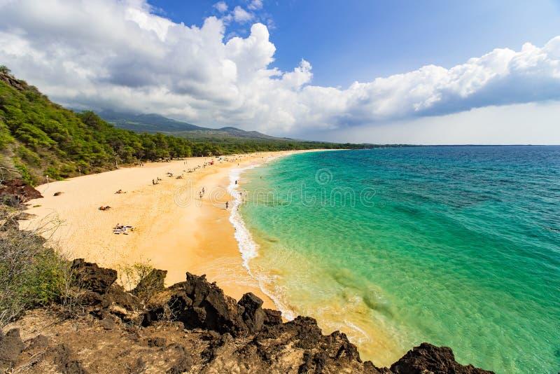 Groot strand op Maui royalty-vrije stock afbeeldingen