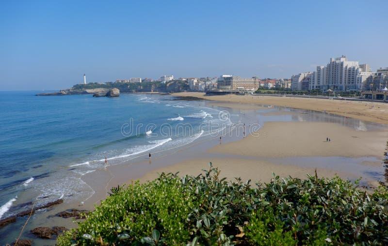 Groot strand van Biarritz, Frankrijk stock afbeeldingen
