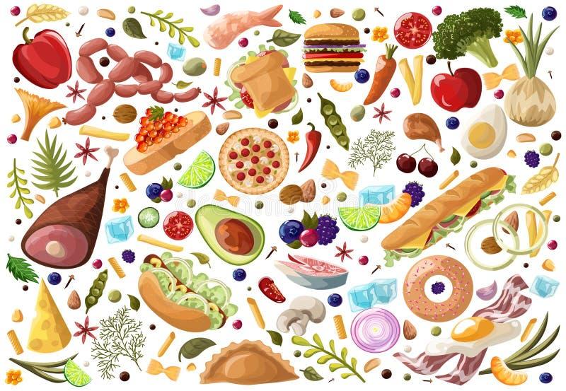 Groot Vastgesteld Voedsel Groenten en Vlees, fastfood, vissen, vruchten, snoepjes, gedroogd fruit en ui, tomaat, appelhand wordt  vector illustratie