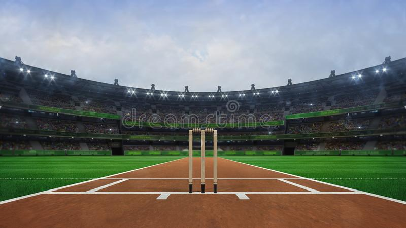 Groot veenmolstadion met houten wickets vooraanzicht in daglicht royalty-vrije illustratie