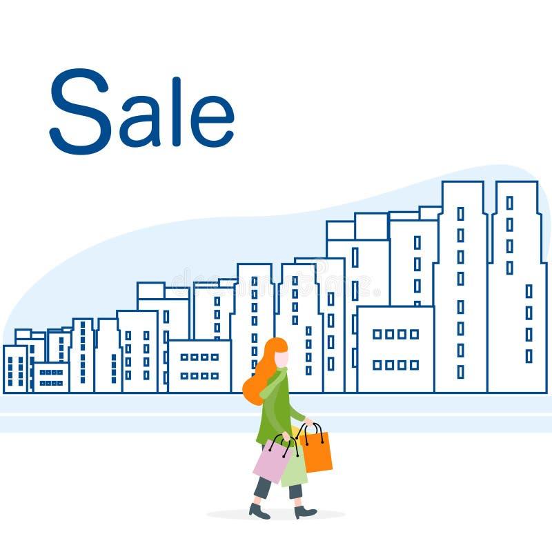 Groot verkoop en het Winkelen concept Vrouw, stad stock illustratie