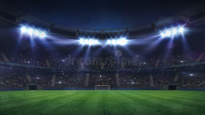 Groot voetbalstadion dat door schijnwerpers en lege groene grasspeelplaats wordt verlicht royalty-vrije stock afbeeldingen