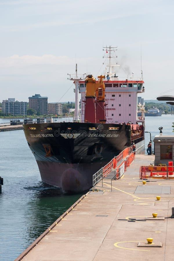 Groot Vrachtschip die dichtbij Dok overgaan royalty-vrije stock afbeeldingen