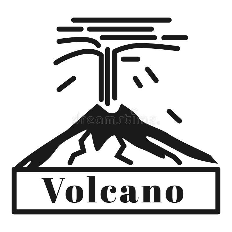 Groot vulkaanuitbarstingembleem, eenvoudige stijl stock illustratie