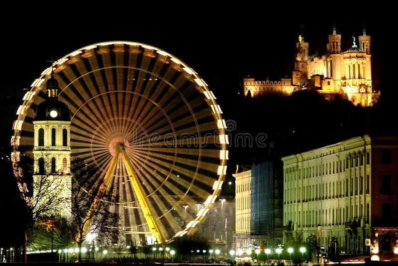 Groot wiel in Lyon (Frankrijk) stock fotografie
