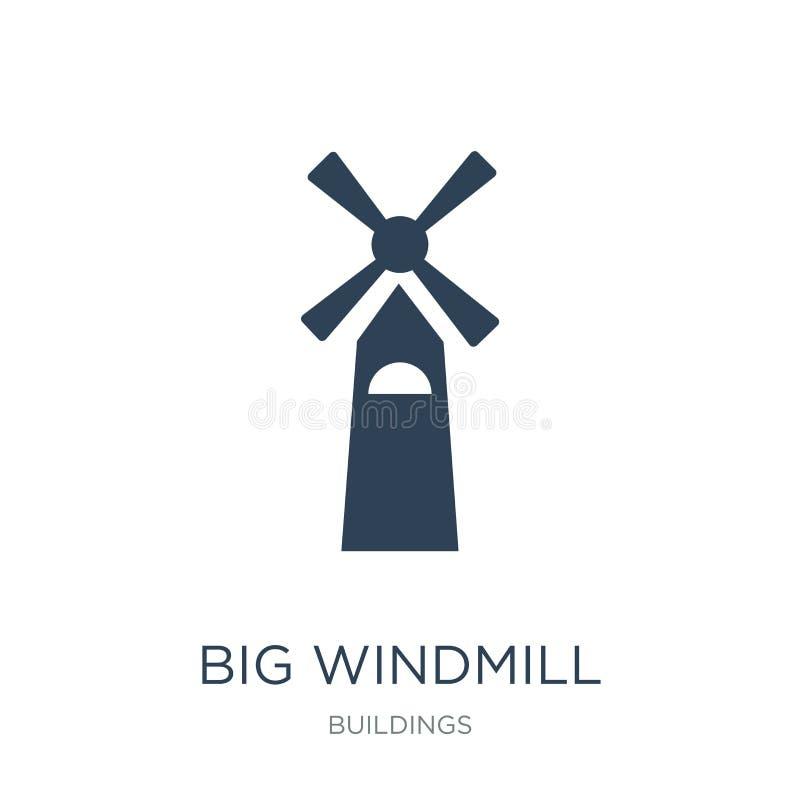 groot windmolenpictogram in in ontwerpstijl groot die windmolenpictogram op witte achtergrond wordt geïsoleerd groot eenvoudig wi vector illustratie