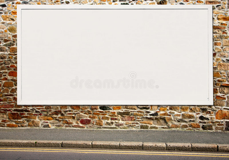 Groot wit leeg aanplakbord. stock afbeelding