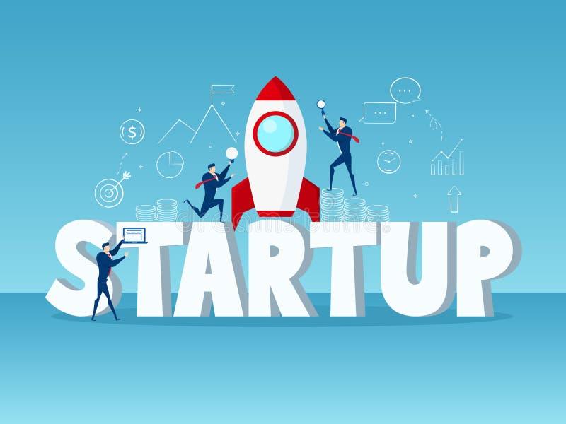 Groot woord Startconcept Zakenmanopstarten met raket, pictogrammen en element vector illustratie