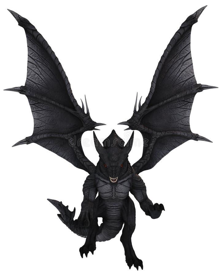 Groot Zwart Dragon Attacking in Front View royalty-vrije illustratie