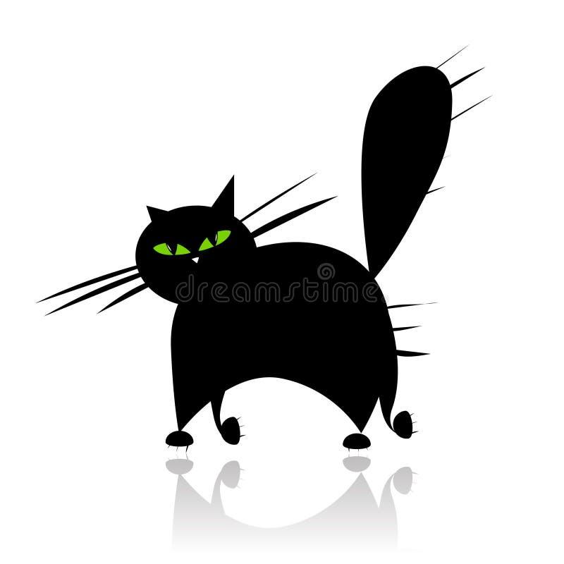 Groot zwart kattensilhouet met groene ogen vector illustratie