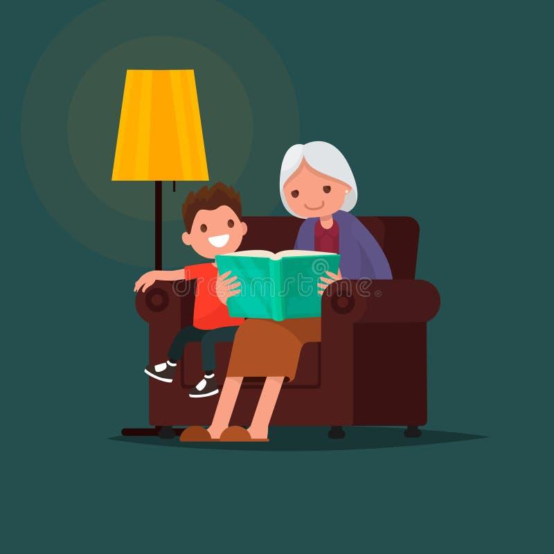 Grootmoeder die een boekkleinzoon leest Vector illustratie stock illustratie