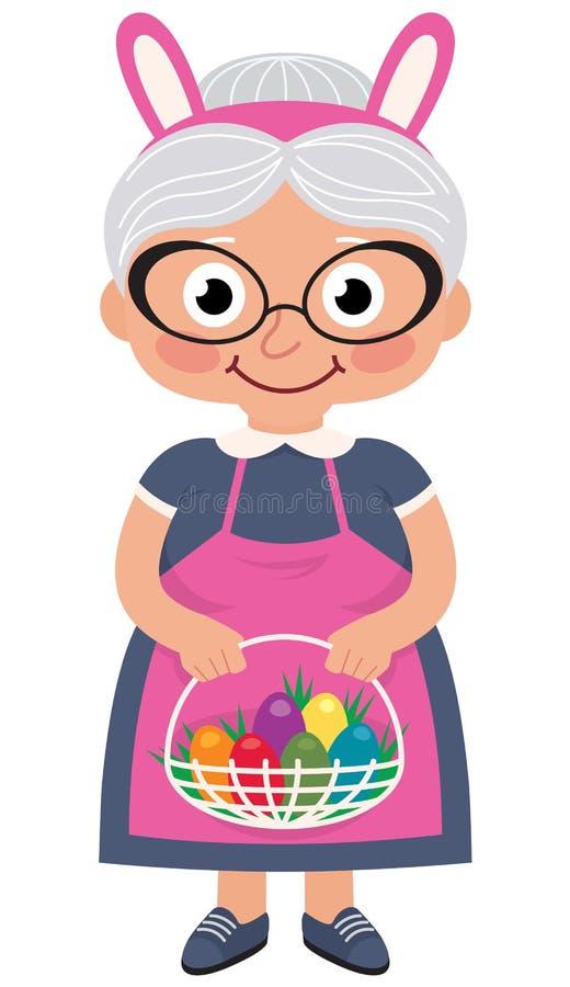 Grootmoeder die een mand met paaseieren houden vector illustratie