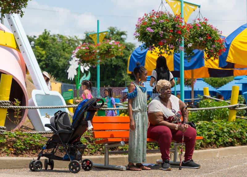 Grootmoeder en haar kleindochter in het park stock foto