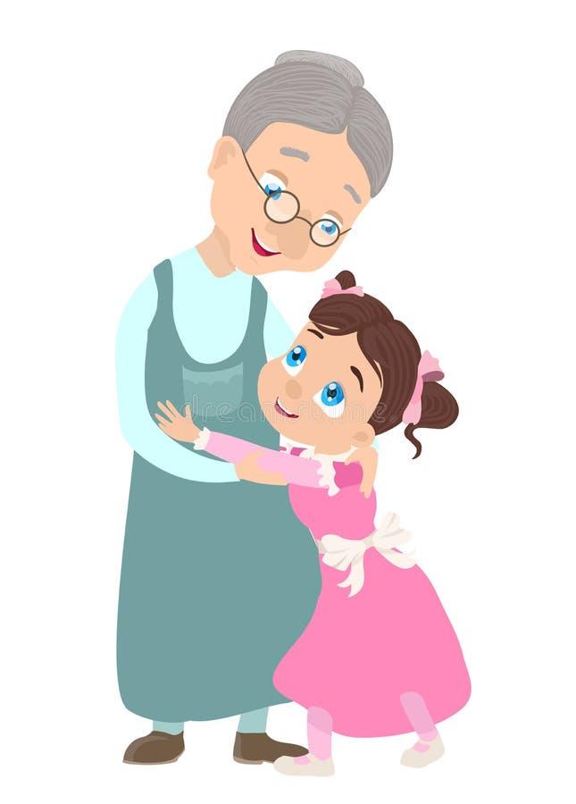 Grootmoeder en kleindochter royalty-vrije illustratie