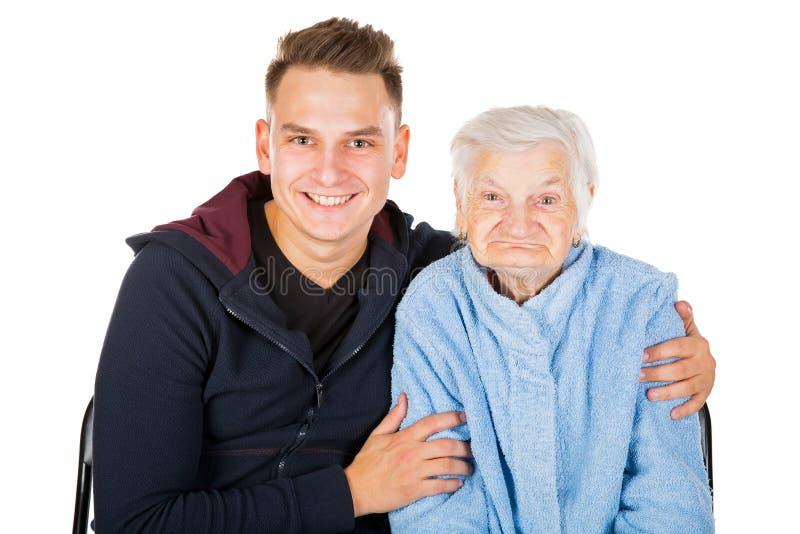 Grootmoeder en kleinzoon royalty-vrije stock foto's