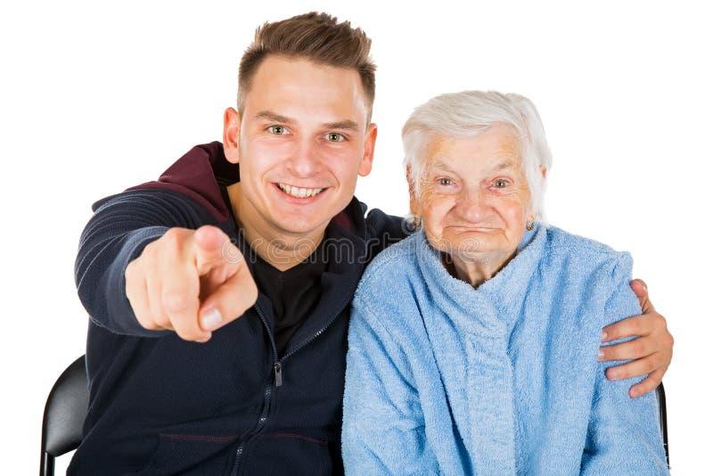 Grootmoeder en kleinzoon royalty-vrije stock afbeelding