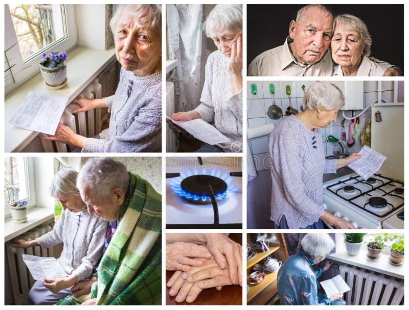 Grootmoeder het berekenen gas en elektriciteitsrekeningen royalty-vrije stock fotografie