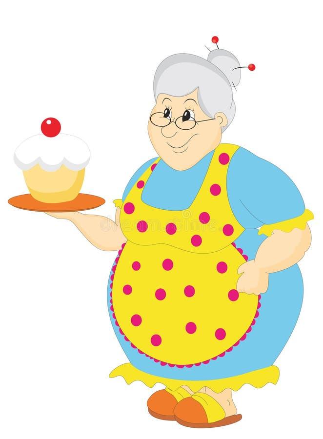 Grootmoeder met cake stock illustratie