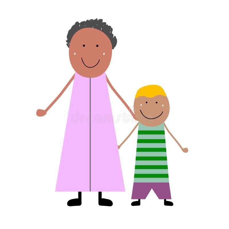 Grootmoeder met kleinzoon royalty-vrije illustratie