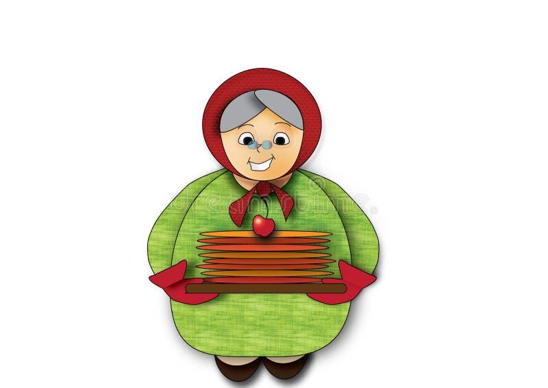 Grootmoeder met pannekoeken royalty-vrije stock afbeelding