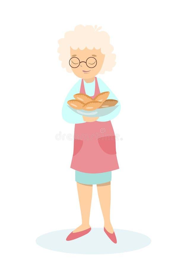 Grootmoeder met pastei royalty-vrije illustratie