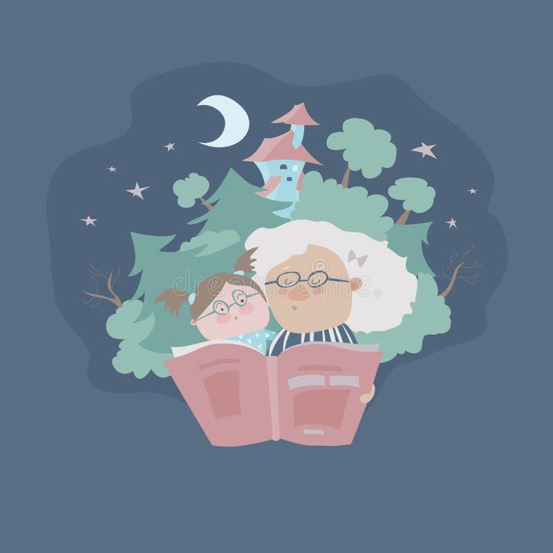 Grootmoederlezing fairytales aan haar kleindochter royalty-vrije illustratie