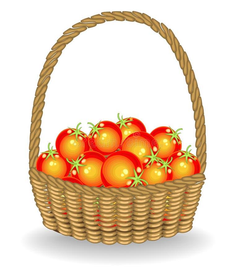 Grootmoedige oogst in een mooie rieten mand verse tomaten De groenten zijn zeer smakelijk en vitamine Het is noodzakelijk voor stock illustratie