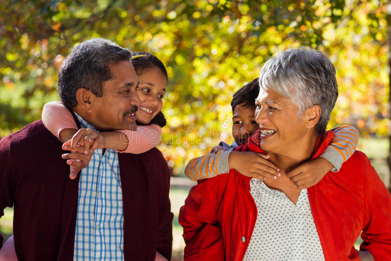 Grootouders die kleinkinderen vervoeren per kangoeroewagen bij park stock foto