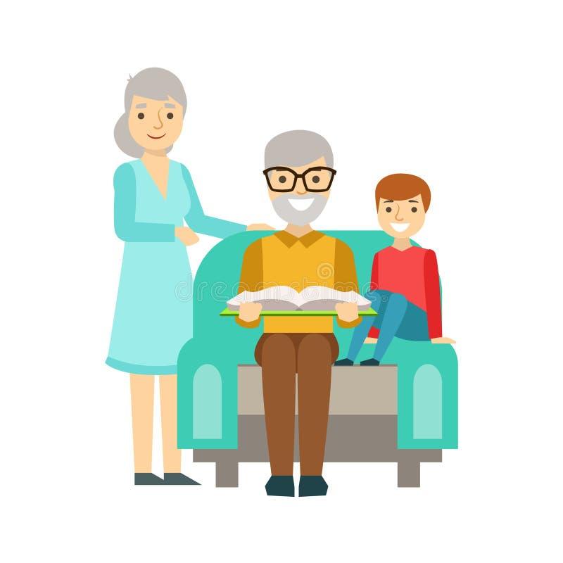 Grootouders en Jongen die samen een Boek, Gelukkige Familie lezen die Goede Tijd hebben vector illustratie