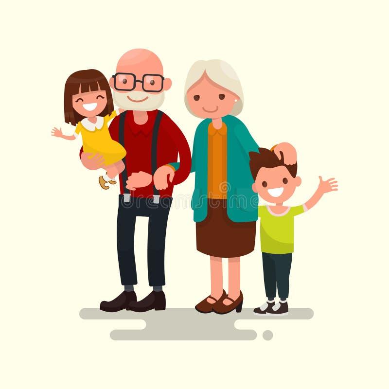 Grootouders met hun kleinkinderen Vector illustratie royalty-vrije illustratie