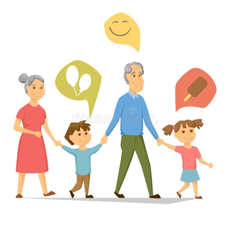 Grootouders met kleinkinderen royalty-vrije illustratie